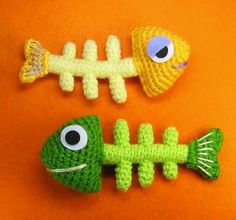 #crochet Fish (bones) make for a cat toy :) just add cat nip into the head