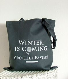 Winter is coming Crochet project bag in grey by KellyConnorDesigns