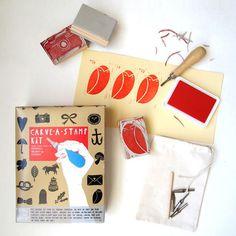 CARVE-A-STAMP KIT Make Your Own Stamp DIY Craft Activity Kit