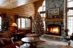 A home for the holidays. There is no better place for the holidays than a log home with a warm fireplace.