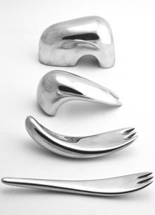 Changing shape of cutlery ... Mickael Boulay's set of forks, designed to help hemiplegics develop their motor skills
