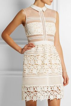 SELF-PORTRAIT Graciella paneled floral-lace and mesh mini dress net-a-porter