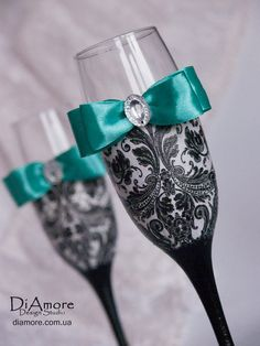 Tiffany blackwhite  Wedding glasses from the by DiAmoreDS on Etsy, $47.00