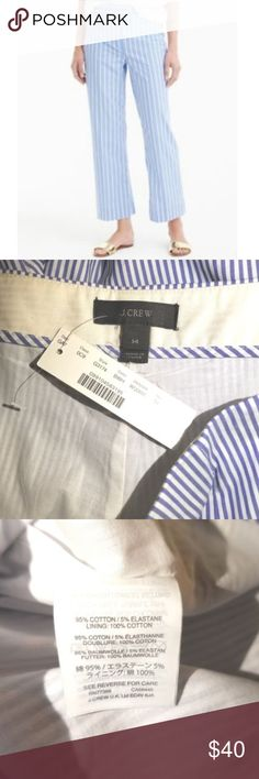 "J.Crew Women's $98 NWT Stripe Wide Leg Crop Pants Thank you for shopping my store!   You are looking at the following item:  J.Crew Women's $98 NWT Stripe Wide Leg Crop Pants   BANADA STRIPE PANT   Sz 14  Blue and White  Side Zip  Lined  Waist Tie  Measurements: 17"" waist across 13.5"" rise 21.5"" inseam  This item(s) comes from a smoke and pet free home.  All items are preowned unless otherwise noted NWT, NWOT, or NWOB.  I inspect all items and disclose details if there are any flaws or…"