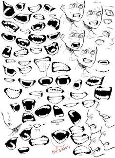 Drawing expressions, art tutorials, drawing tutorials, mouth drawing, d Drawing Reference Poses, Drawing Poses, Drawing Tips, Drawing Themes, Drawing Drawing, Drawing Ideas, Drawing Face Expressions, Drawing Expressions, Zombie Drawings