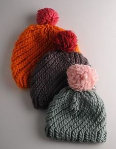 Much admired at The Knitting & Sitching show this year, these hats are super quick to make. They are knitted in the round and very simple to get the hang of. If you buy two skeins of contrasting colours then you will easily get two hats out of them.