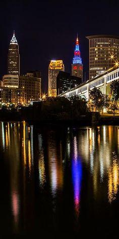 Cleveland At Night V Panoramic Photograph