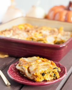 Savory Pumpkin Lasagna Recipe - perfect as a vegetarian Thanksgiving main dish!
