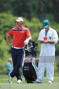 Brooks Koepka of the United States waits in the first fairway with his caddie Ricky Elliottduring the first round of the 2015 Masters Tournament at Augusta National Golf Club on April 2015 in. Get premium, high resolution news photos at Getty Images Brooks Koepka, Augusta National Golf Club, Masters Tournament, First Round, Golfers, The One, Waiting, United States, Baseball Cards
