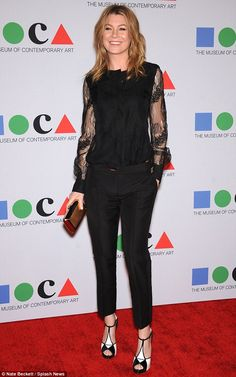 Ellen Pompeo added a pair of black-and-white heels to her all-black ensemble to attend the MOCA gala in Los Angeles celebrating Urs Fischer and his work