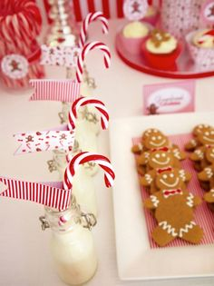 North Pole Breakfast - Milk bottles with candy cane stirrers