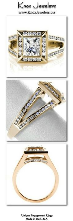 This engagement ring design is a beautiful contemporary engagement ring setting. Featuring a 1.50 carat princess cut center diamond in a bezel setting, the ring has a halo and a split shank band. The diamonds on the halo and band are in channel settings which compliment the bezel of the center stone.Click on pin for more information. Halo Diamond Engagement Ring, Designer Engagement Rings, Engagement Ring Settings, Contemporary Engagement Rings, Thing 1, Princess Cut Rings, Split Shank, Unique Rings, White Gold Diamonds