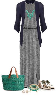 Maxi dress, boyfriend cardigan, and a chunky necklace. A thin belt could create the same look with a regular maxi dress. Komplette Outfits, Casual Outfits, Fashion Outfits, Womens Fashion, Latest Fashion, Cardigan Outfits, Navy Cardigan, Hijab Casual, Dress Casual