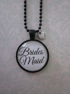 Black/White Brides Maid Glass Pendant by CharmedDesignsByJC, https://www.etsy.com/listing/116633980/blackwhite-brides-maid-glass-pendant