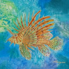 "Silk Painting - ""Lion Fish"" by Alena Vyborna"