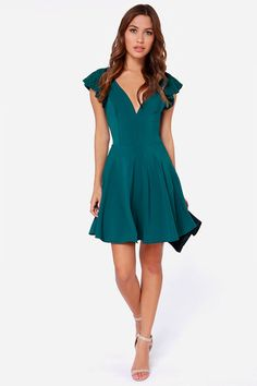LULUS Exclusive Orchard Sunset Teal Blue Short Sleeve Dress at Lulus.com!