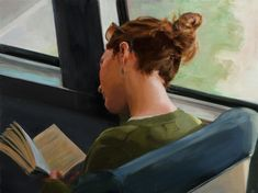Ned Axthelm, Between Places, oil, 23 x - Southwest Art Magazine Girl Reading, Reading Art, People Reading, Book People, I Love Books, Good Books, Books To Read, Tennessee Williams, Book Letters