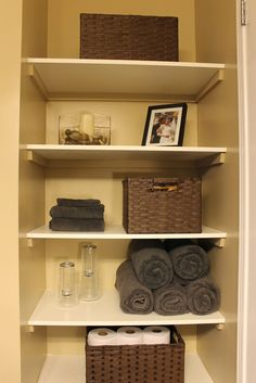 DIY: Organizing Open Shelving in a Bathroom For the master bath which is woefully lacking in usuable storage