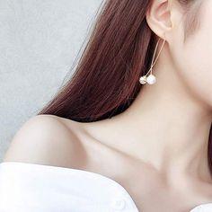 Simple Metal Ball Simulated Pearl Dangle Earrings For Women Fashion Personality Long Pendientes Brincos (silver) Cheap Earrings, Women's Earrings, Fashion Earrings, Dangles, Gold, Pearls, Metal, Simple, Womens Fashion