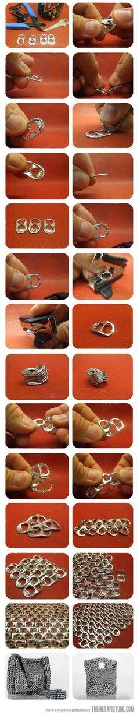 Créer des #mailles de #fer avec les languettes de #canettes / #DIY / #Tuto / A Visual How-to for Connecting Tabs from Cans to make purses, etc.