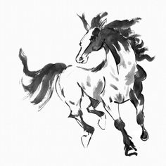 Great Chinese Single Horse Horse Wallpaper, Custom Wallpaper, Painting Wallpaper, Wall  Wallpaper, Watercolor