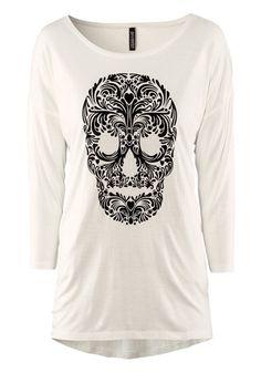 White Skull Print Seven's Sleeve Mercerized Cotton T-Shirt