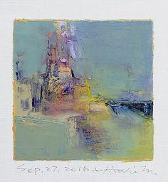 "Sep. 27, 2016 9 cm x 9 cm (app. 4"" x 4"") oil on canvas © 2016 Hiroshi Matsumoto"
