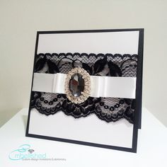 black lace invitation