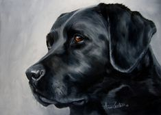 Back In Black - original oil of a black labrador retriever, painting by artist Anne Zoutsos