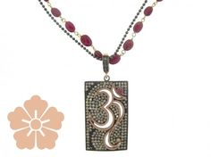 SUNEERA  Om  Dogtag pendant with champagne pave diamonds : Be On Park Fine Jewelry