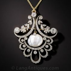 Edwardian Pearl and Diamond Pendant - Antique & Vintage Necklaces - Shop for Jewelry