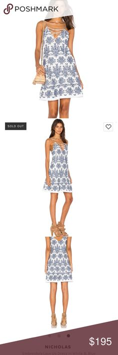 Nicholas Embroidered Lace Up Dress in White & Blue Wore once but I've gained weight and my chest is too big for this dress NICHOLAS Dresses Mini