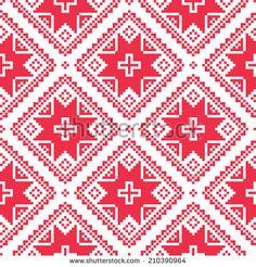 Seamless Ukrainian, Slavic folk art red embroidery pattern  by RedKoala #Ukraine #Belarus