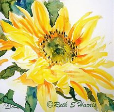 watercolor paintings of sunflowers | Yellow Sunflower Original Watercolor Painting Small Format Art SFA