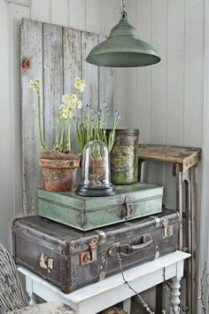 Old suitcases are perfect for storage when grouped together.
