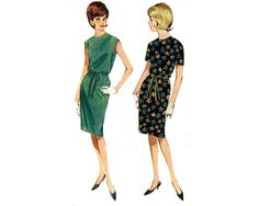 Vintage Dress Pattern, Butterick 3026, Size 14, 1960s summer dress, shift, quick and easy