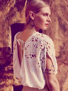 Free People Cutwork Short Sleeve Banded Top at Free People Clothing Boutique Boho Gypsy, Bohemian Style, Bohemian Decor, Lace Beadwork, Love Fashion, Fashion Looks, Country Women, Cut Work, Embellished Top