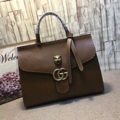 Gucci GG Marmont leather top handle bag brown