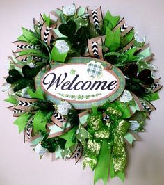 St Patrick's Day Wreath, St Paddy's Wreath, Shamrock Wreath, St Patrick Welcome Wreath, Burlap Mesh Ribbon Wreath, Front Door Wreath