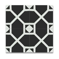 Pack of 12 Mogador Black and White Handmade Cement and Granite 8x8-inch Floor and Wall Moroccan Tiles (Morocco) | Overstock.com Shopping - The Best Deals on Accent Pieces