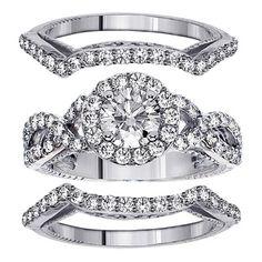 14k White Gold 2 3/5ct TDW Diamond Halo Bridal Ring Set (F-G, SI1-SI2) beautiful!!!  Item #: 15251708
