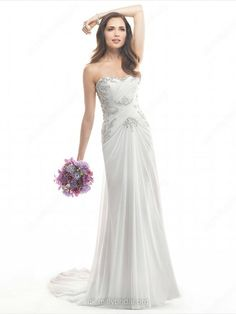 Sheath/Column Sweetheart Chiffon Sweep Train Ruffles Wedding Dresses -GBP£150.29
