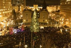 Portland lit its Christmas tree in Pioneer Courthouse Square on Nov. 27, accompanied by the city's own Pink Martini band and members of the Oregon Symphony and Pacific Youth Choir. The 75-foot-tall Douglas fir was donated by Stimson Lumber Co. and grown on sustainable forest lands near Gaston, Ore. This year, the tree has 14,000 new LED lights
