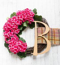 Monogram wreath with geraniums. Pink wreath for Spring. Spring wreath ideas for front door. Door wreath ideas and DIY. Initial Door Wreaths, Monogram Wreath, Monogram Letters, Diy Monogram, Pink Wreath, Hydrangea Wreath, Pink Hydrangea, Floral Wreath, Burlap Ribbon