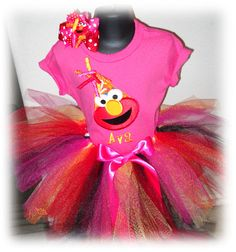 Oh Amanda, are you seeing this?  Personalized Hot Pink Elmo Tutu Birthday Set by EmbroideryStar, $44.99
