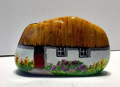 Irish thatched cottage painted rock