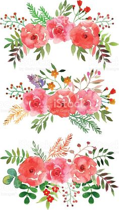 Vector floral set with watercolor flowers. royalty-free stock vector art