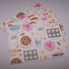 Cards for a baker. Cookie cards. Notecards cute. Chocolate chip art. Folded notecards. Feminine notecards. Note card set. qty 6. by 1OfAKindCrafts on Etsy