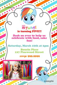 My Little Pony Rainbow Dash 5x7 Digital Invitation rainbow stripes on Etsy, $15.00