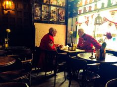 Chelsea pensioners at The Troubadour, London
